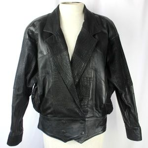 Vintage 80's Patchwork Leather Biker Jacket